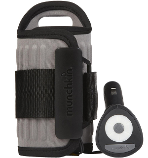 Car bottle warmer by Munchkin. On the picture are both the device and a plug with switches.