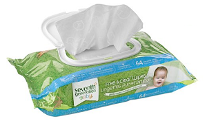 Free and Clear Baby Wipes in resealable box produced by Seventh Generation