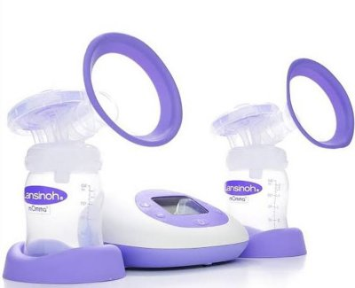 stylish electric pump by Lansinoh with rubberized flanges and large LCD