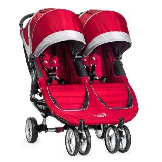 Double stroller by Baby Jogger in crimson red