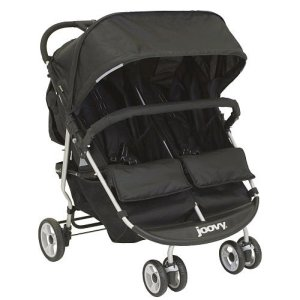 A double stroller considered to be the most affordable option among side-by-side strollers. Joovy Scooter X2 in black.