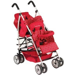 Red Kinderwagon HOP double inline stroller with storage basket and double wheels.