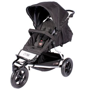 Black inline double stroller by Mountain Buggy with one front wheel and large canopy