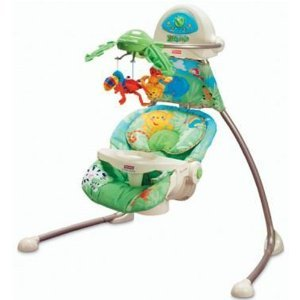 rainforest baby swing with moving mobile and head support