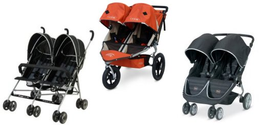 Three side by side double strollers